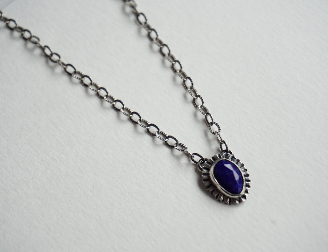 Faceted lapis bezel set silver necklace 18