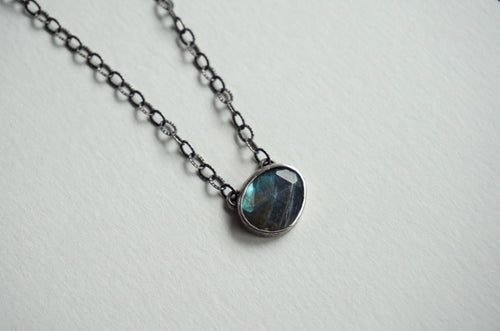 Faceted labradorite and silver necklace 18