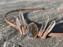 Load image into Gallery viewer, Labradorite and Quartz Crystal Tiara