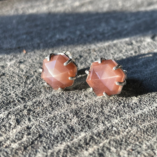 Chocolate Moonstone Hexy Studs