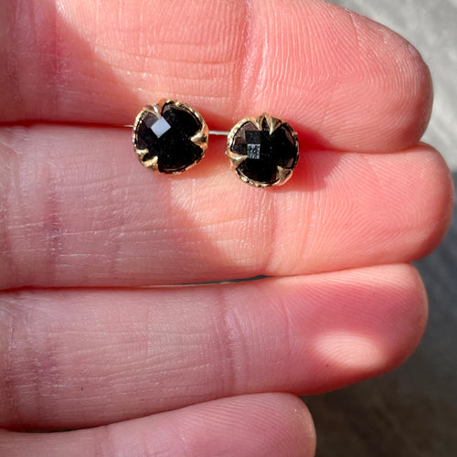 Mystical Studs-Onyx and Gold