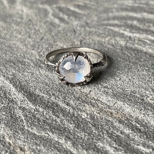 Mystical Solitaire Sterling and Rosecut Moonstone Ring