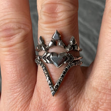 "Load image into Gallery viewer, ""Love struck"" ring in Blackened Sterling Silver"