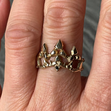 "Load image into Gallery viewer, ""Desert Wildfire Crown"" ring 10k yellow Gold with Black Diamond"