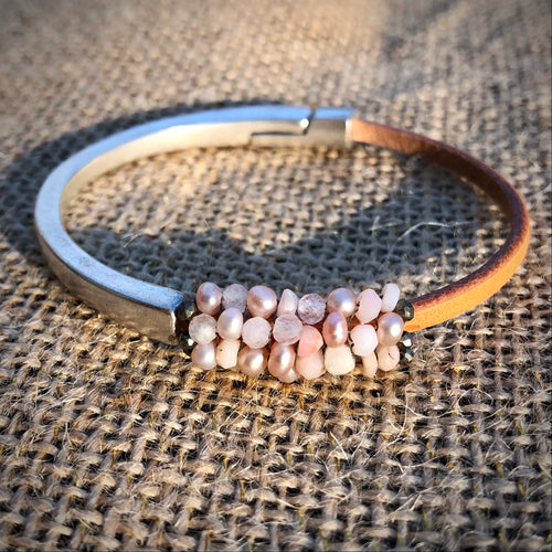 Metal and Leather Beaded Bracelet - Thin