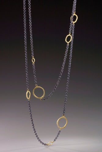 Floating 18K Gold Ring Necklace
