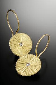 18K Gold Sunburst Earring with Diamonds