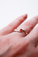 Load image into Gallery viewer, Organic silver amber claw ring size 6.5