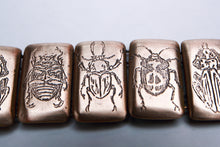 Load image into Gallery viewer, Bronze Etched beetles link bracelet