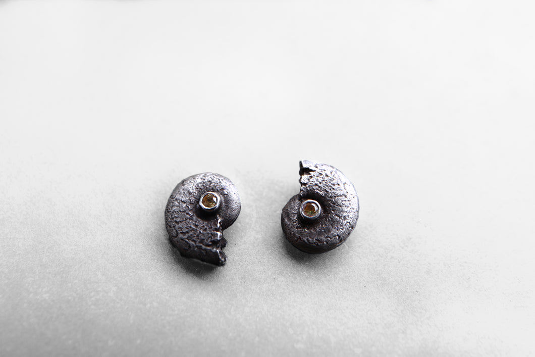 Smaller Ammonite studs with sapphires
