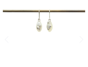 Mother of Pearl earrings with barnacles