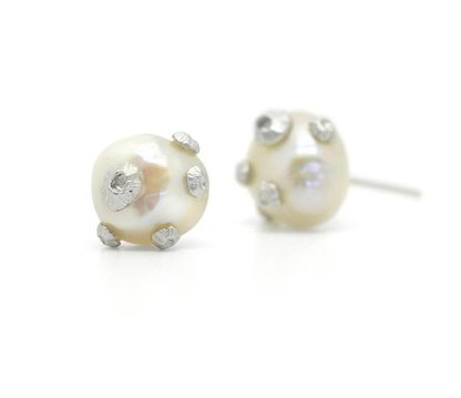 Pearl Studs with Barnacles