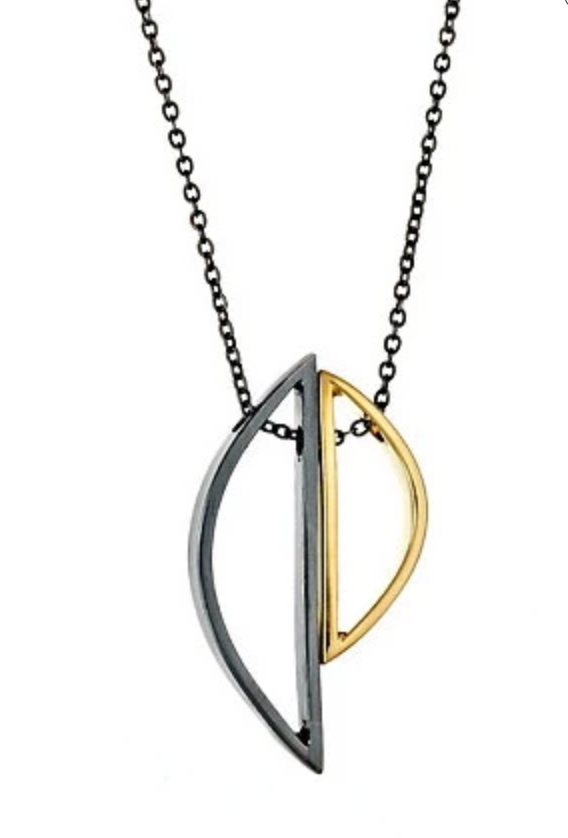 Demi-Selene necklace in oxidized silver and gold