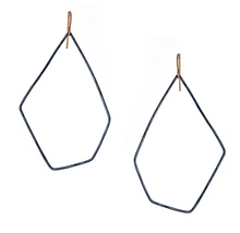 Load image into Gallery viewer, Hex hoops oxidized silver earrings