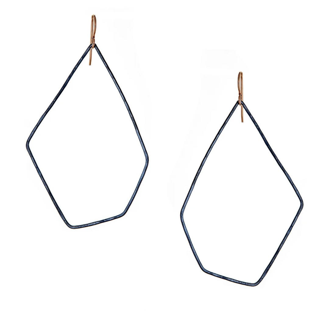 Hex hoops oxidized silver earrings