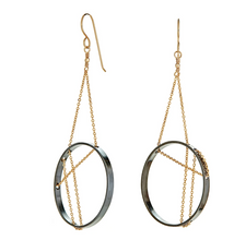 Load image into Gallery viewer, Vitruvia earrings in oxidized silver and gold