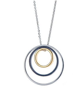 Delano Necklace in oxidized silver, silver, and gold