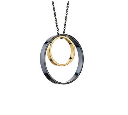Delvaux Necklace in oxidized silver and gold
