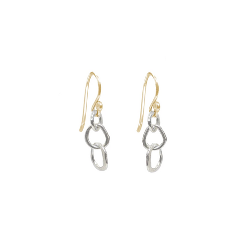 Small Organic Link Earrings in Sterling silver with Goldfill earwires