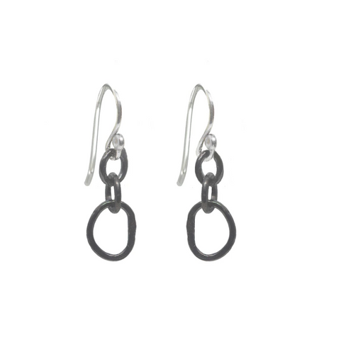 Small Organic Oxidized Link Earrings with Sterling silver earwires