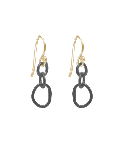 Small Organic Oxidized Link Earrings with Goldfill earwires