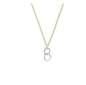 Small Sterling Organic Link Necklace with Gold fill Chain
