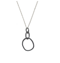 Load image into Gallery viewer, Large Oxidized Organic Link Necklace with Sterling Chain