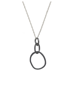 Large Oxidized Organic Link Necklace with Sterling Chain