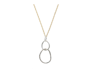 Large Sterling Organic Link Necklace with Gold fill Chain