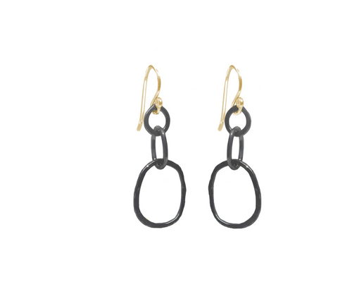 Large Oxidized Organic Link Earrings with Gold fill earwires
