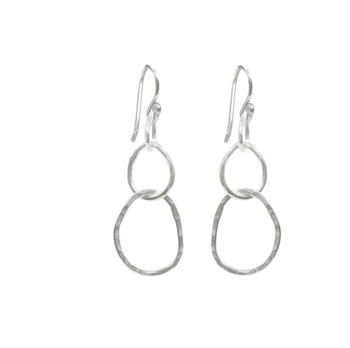 Large Organic Link Earrings in Sterling silver