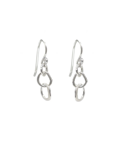 Small Organic Link Earrings in Sterling silver