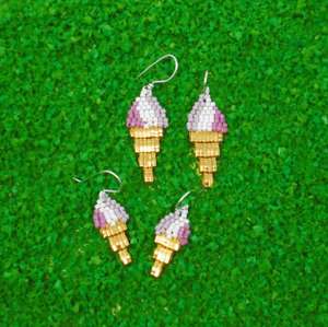 Raspberry Swirl Ice cream Earrings