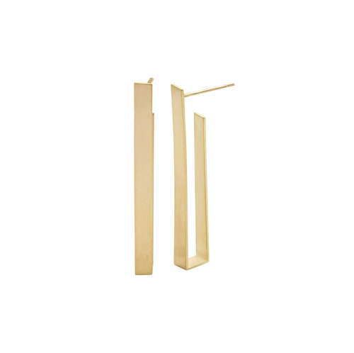 Long Rectangle Earrings in Recycled 18k Gold