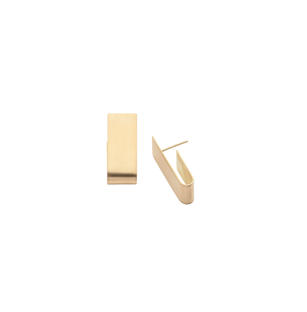 Wide Tab Earrings in Recycled 18k Gold