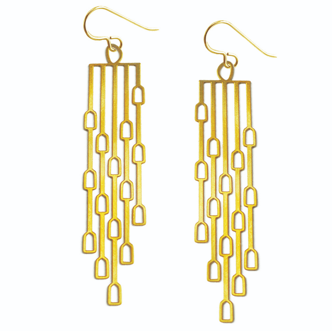 20k Gold Plated Long Odyssey Earrings