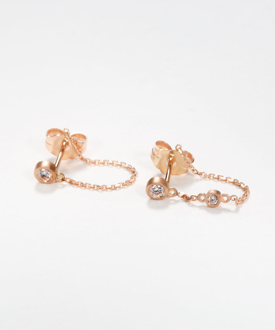 Tiny Diamond Chained Earrings