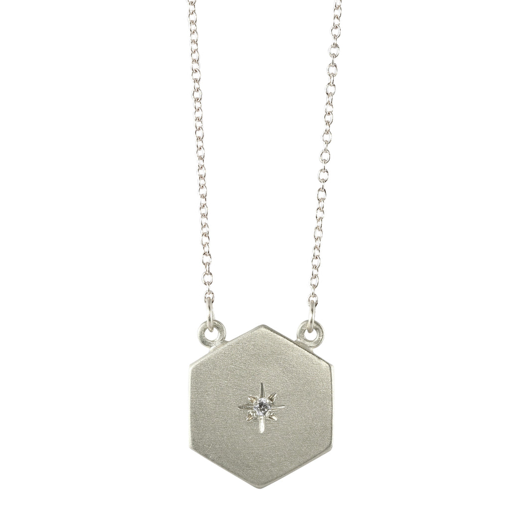 Sterling Silver Starry Sky Hexagon Necklace