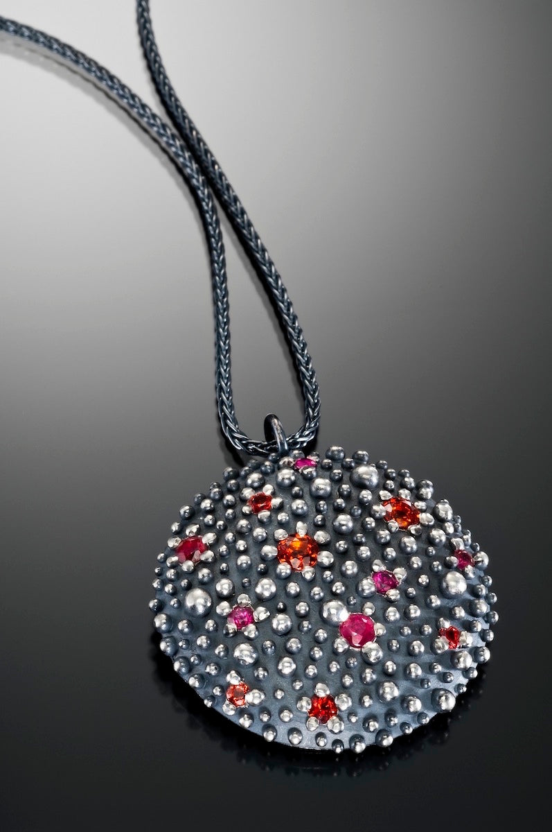 Large Sheild Necklace with Rubies and Sapphires