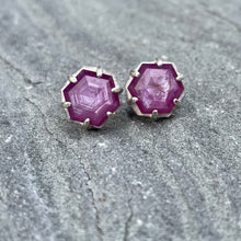 Load image into Gallery viewer, Pink Star Sapphire Hexy Studs