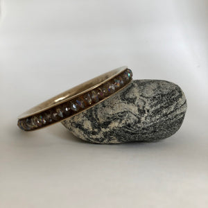 Bronze Bangle Bracelet with Irradiated Glass Beads