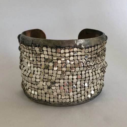 Large Brass Cuff with Silver Plated Brass Mesh