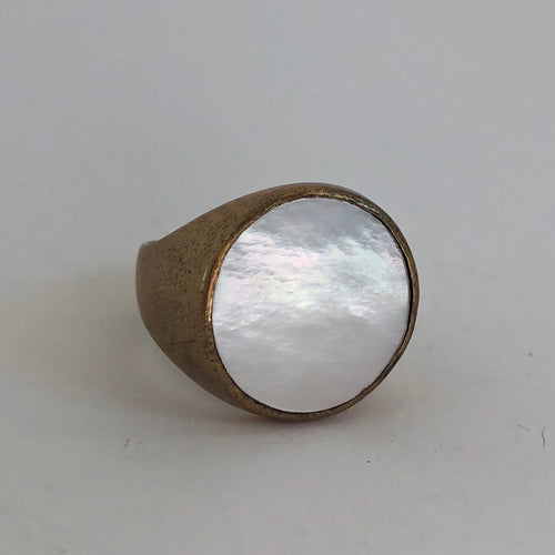 Bronze and Mother of Pearl Power Ring