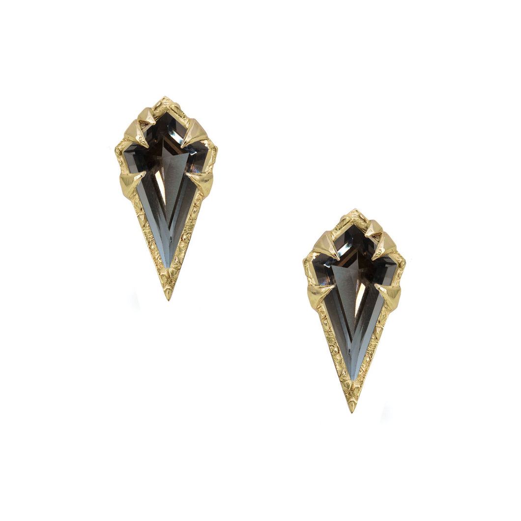 """Mystical"" studs- Smoky Quartz"