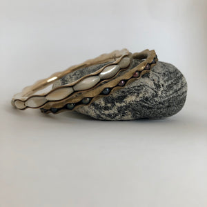 Bronze Bangle Bracelet with mother of pearl