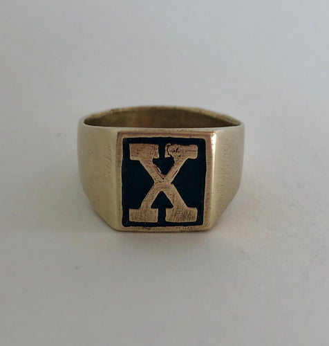 "Traditional ""X"" Signet Ring- Bronze"