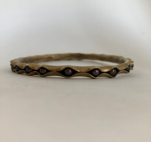 Bronze Bangle Bracelet with peacock pearls