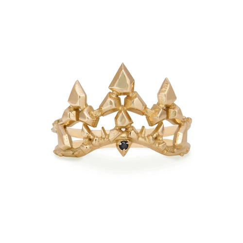 """Desert Wildfire Crown"" ring 10k yellow Gold with Black Diamond"