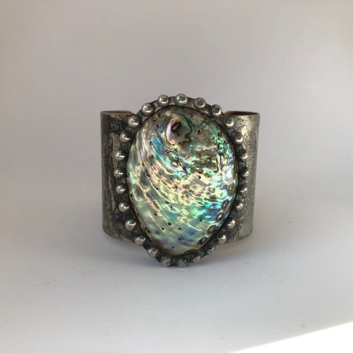 Abalone Shell on Silver plated Brass Cuff