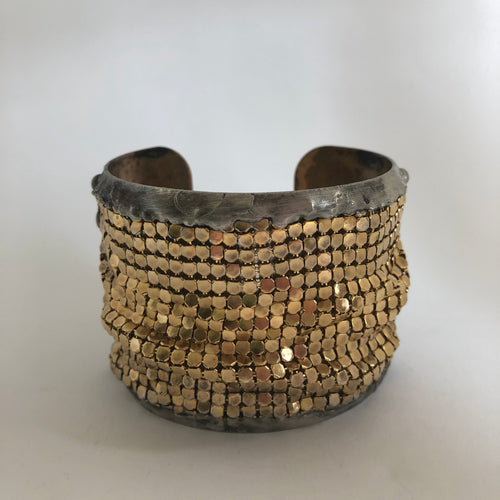 Large Brass Cuff with Gold Plated Brass Mesh